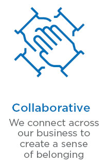 Collaborative - we connect across our business to create a sense of belonging